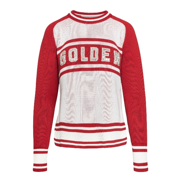 White and red sweater with logo                                                                                                                       Golden goose GWP00766 front