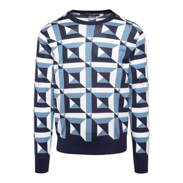 Maglione blu con fantasia geometrica                                                                                                                  Dolce&gabbana GXA63T retro