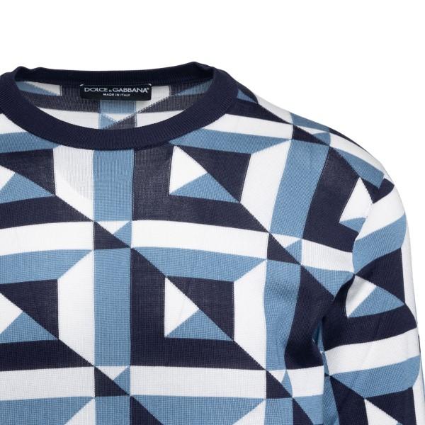 Blue sweater with geometric pattern                                                                                                                    DOLCE&GABBANA