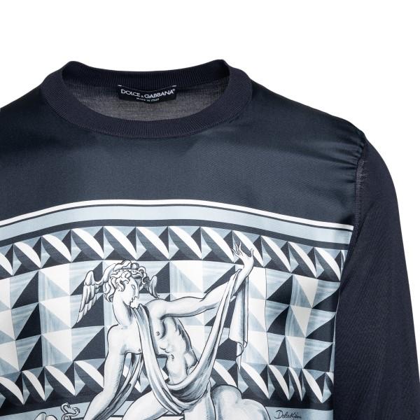 Maglione blu con stampa grafica                                                                                                                        DOLCE&GABBANA                                      DOLCE&GABBANA