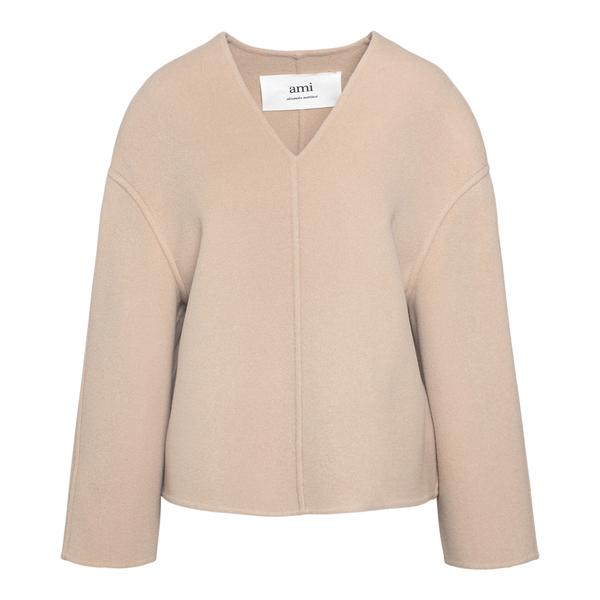 Wide beige sweater                                                                                                                                    Ami H21FOW065 back