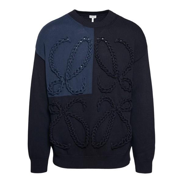 Maglione blu scuro con ricamo logo                                                                                                                    Loewe H526Y14K24 fronte