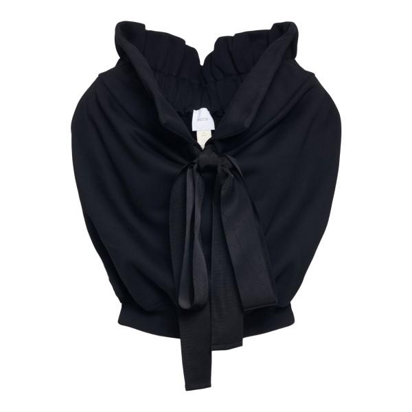 Blusa nera crop smanicata con fiocco                                                                                                                  Patou JE0239995 retro
