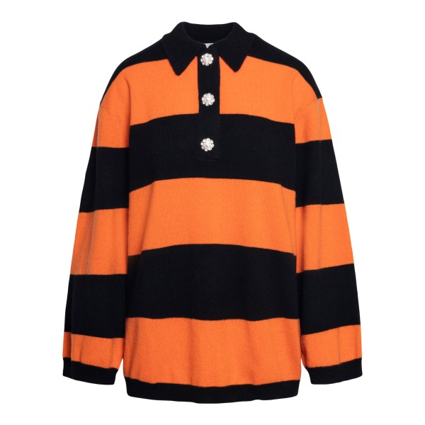 Orange and black striped top                                                                                                                          Ganni K1447 front