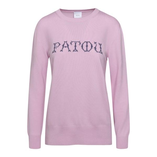 Maglioncino rosa con ricamo nome brand                                                                                                                Patou KN0428001 retro