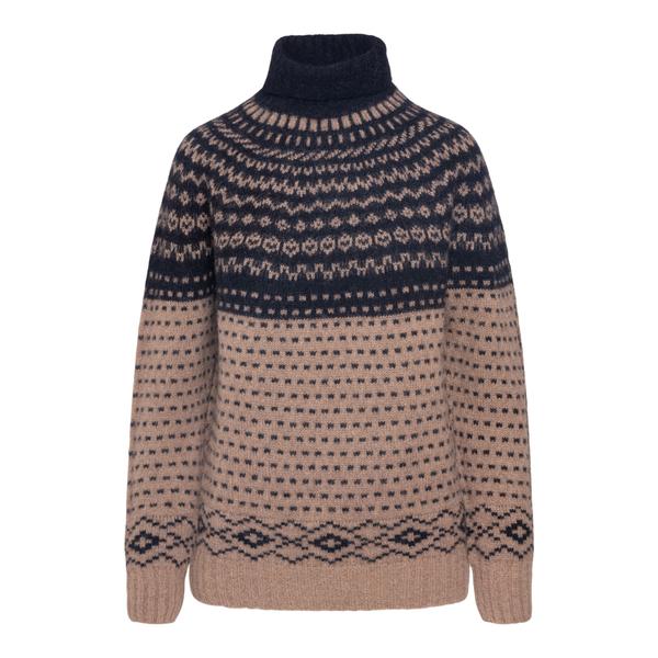 Beige sweater with geometric pattern                                                                                                                  Drumohr L5LL105J back