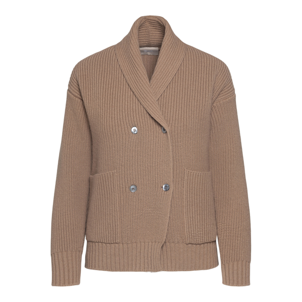 Double-breasted beige cardigan                                                                                                                        Drumohr L5W616PP back