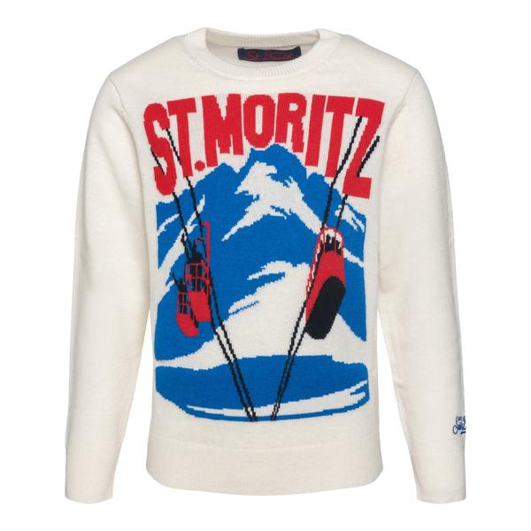 Maglione bianco St. Moritz                                                                                                                            Saint Barth MORIPOSTCARD10 retro