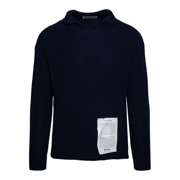 Maglione blu con colletto                                                                                                                             Ballantyne S2P082 retro