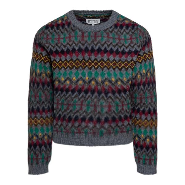 Maglione grigio con motivo multicolore                                                                                                                Maison Margiela S50HA1031 retro