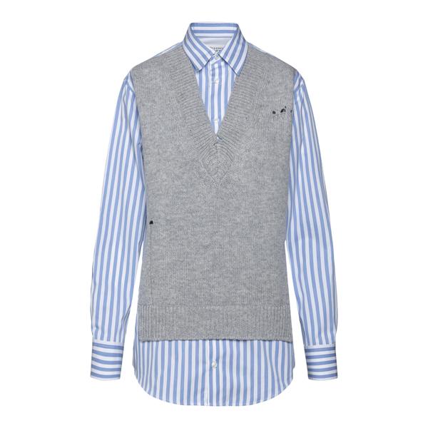 Camicia azzurra con gilet in maglia                                                                                                                   Maison Margiela S51DL0382 retro