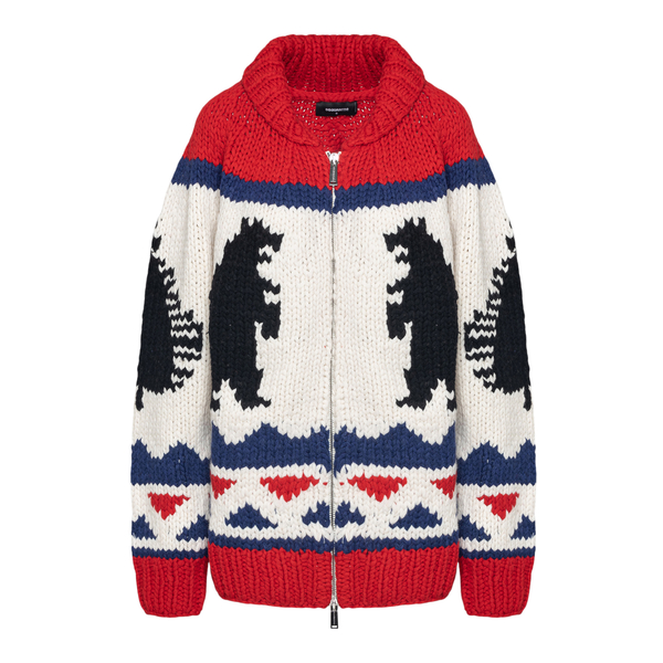 White and red sweater with geometric pattern                                                                                                          Dsquared2 S72HA1072 back