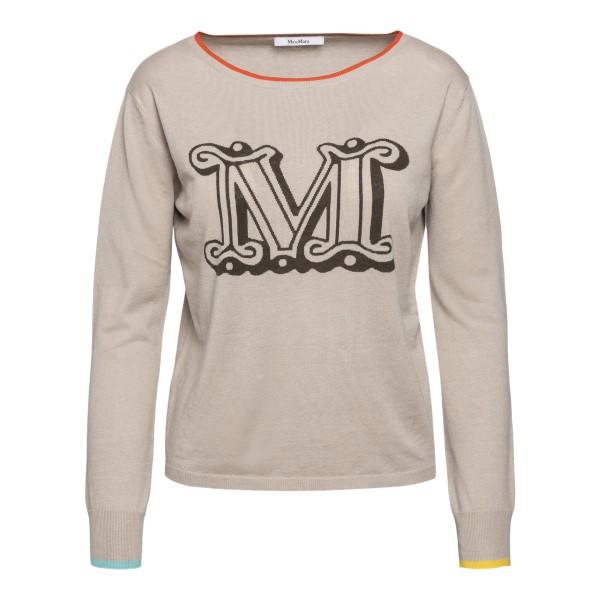 Maglioncino beige leggero con iniziale brand                                                                                                          Max Mara SATRAPO retro