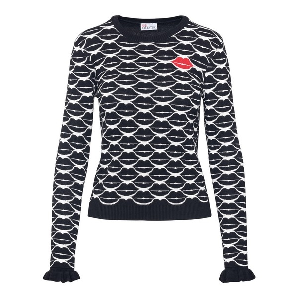 Black sweater with lips pattern                                                                                                                       Red valentino UR0KC02P front