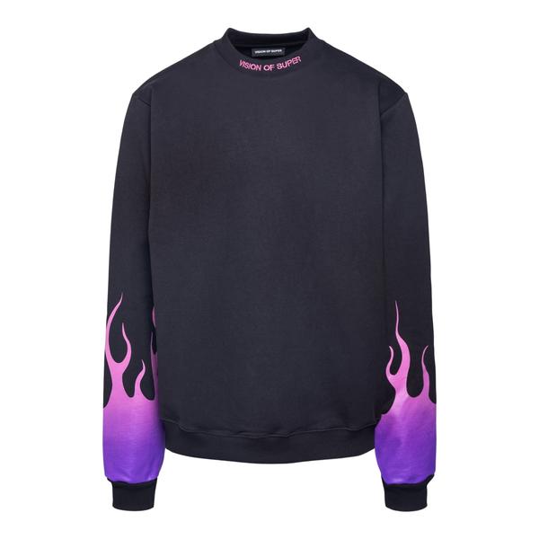 Felpa nera con fiamme su maniche                                                                                                                      Vision Of Super VOSB12PUSFU retro
