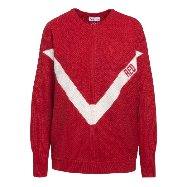 Red sweater with V logo                                                                                                                               Red valentino VR3KC06D front