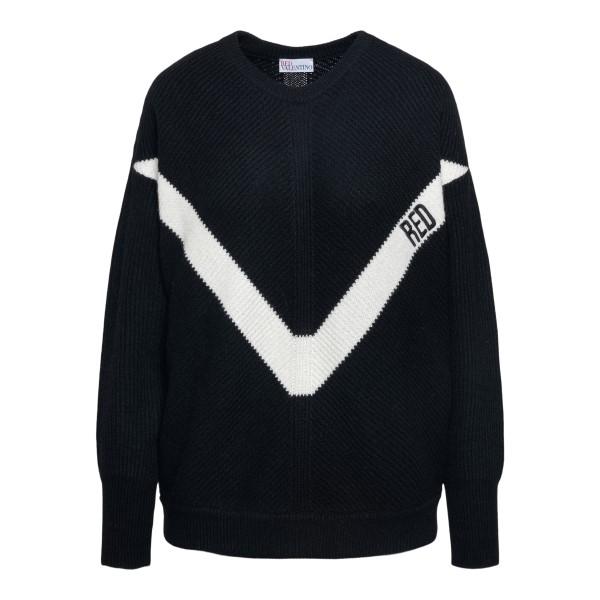 Black sweater with V logo                                                                                                                             Red Valentino VR3KC06D back
