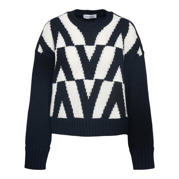 Black sweater with geometric pattern                                                                                                                  Valentino WB0KC27V back