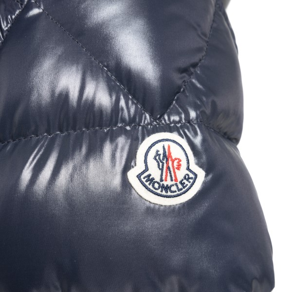 Blue down jacket with band detail                                                                                                                      MONCLER