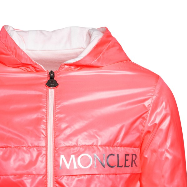 Pink raincoat with silver logo                                                                                                                         MONCLER