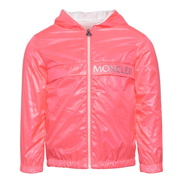 Pink waterproof jacket with silver logo                                                                                                               Moncler 1A71910_ back