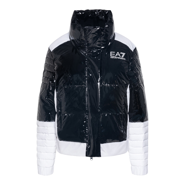 Glossy black down jacket with brand name                                                                                                              Ea7 6KTB01 back