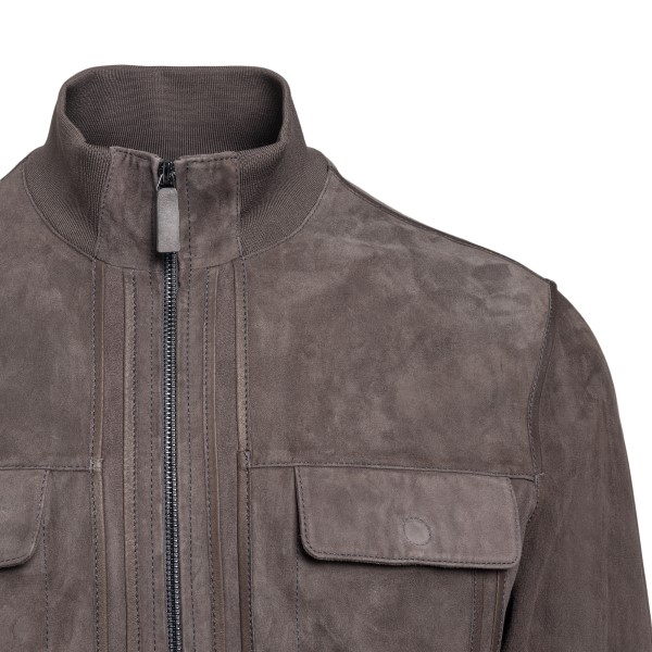 Grey suede jacket                                                                                                                                      EMPORIO ARMANI