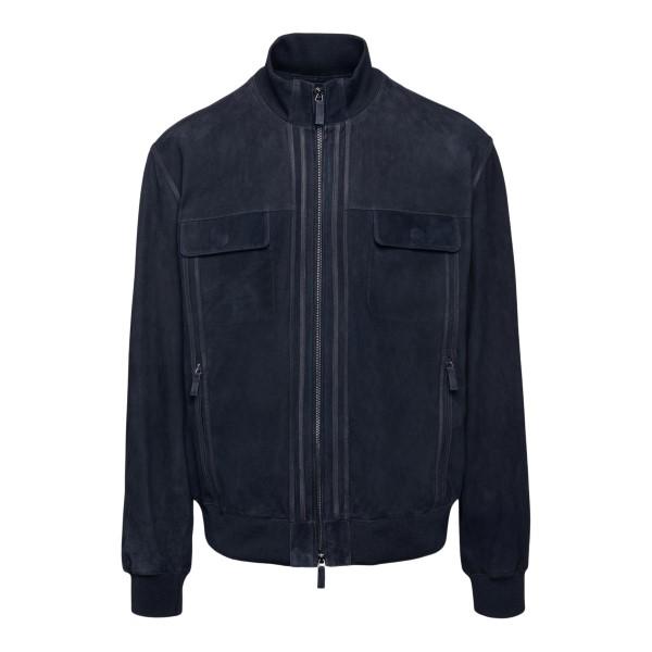 Blue suede jacket                                                                                                                                     Emporio Armani A1R05P back
