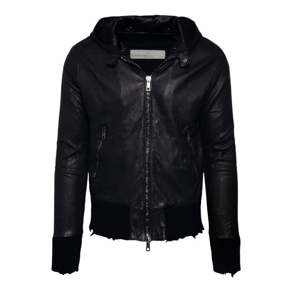 Leather jacket with distressed effect edges                                                                                                           Brato GU22F10084 back