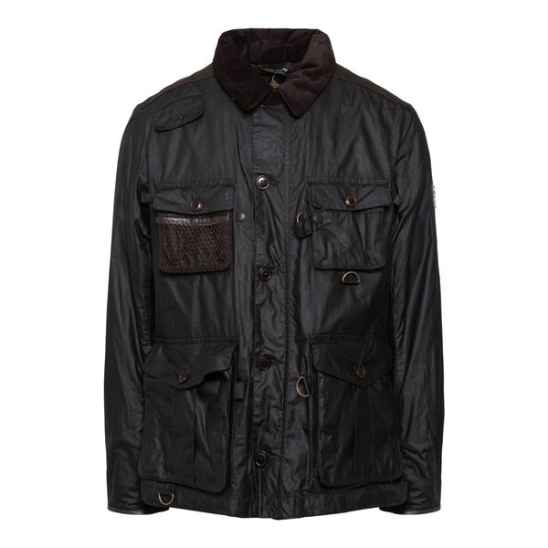 Giacca nera a camicia con colletto in velluto                                                                                                         Barbour MWX1891 retro