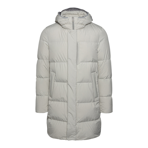 Light grey down jacket in medium length                                                                                                               Herno PI186UL back