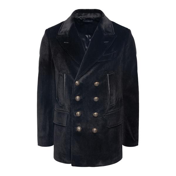 Blazer nero in velluto con bottoni oro                                                                                                                Tom Ford TFO719 retro