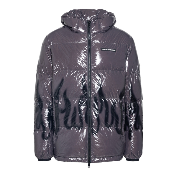 Glossy down jacket with flame print                                                                                                                   Vision Of Super VOSPUFFYGLOSSYFL back