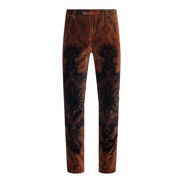 Pantaloni marroni con stampa paisley                                                                                                                  Etro 1P410 retro