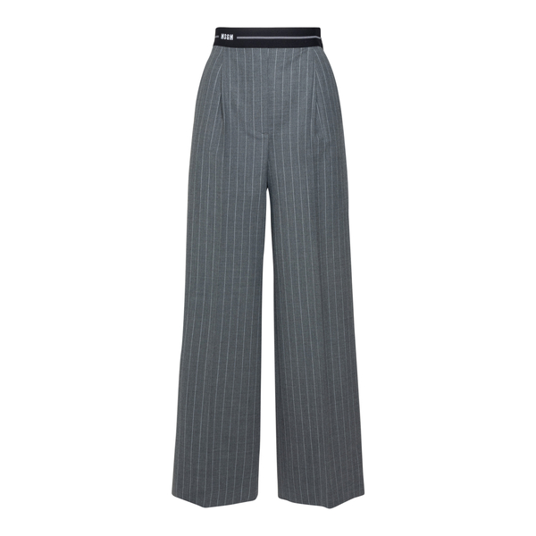 Wide grey striped trousers                                                                                                                            Msgm 3141MDP14A back