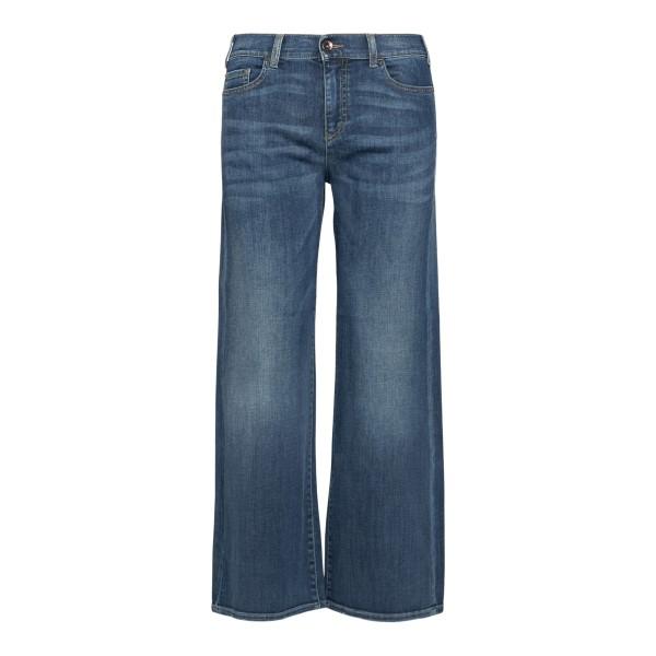 Jeans blu a gamba ampia con logo                                                                                                                      Emporio Armani 3K2J33 retro