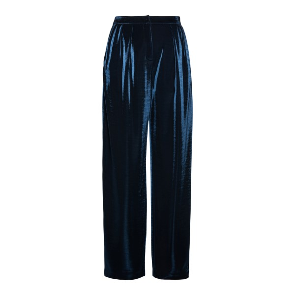 Wide navy blue lurex trousers                                                                                                                         Emporio Armani 3K2P8G back