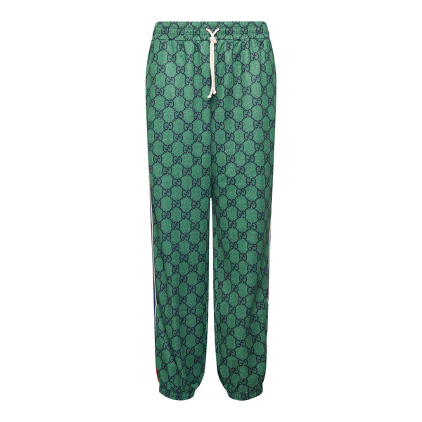 Green sports trousers with logo pattern                                                                                                               Gucci 655146 back