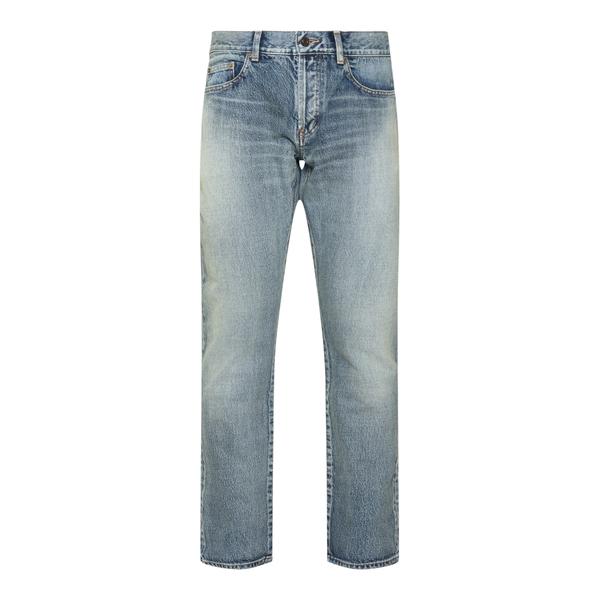 Jeans dritti blu in effetto sbiadito                                                                                                                  Saint Laurent 670614 retro