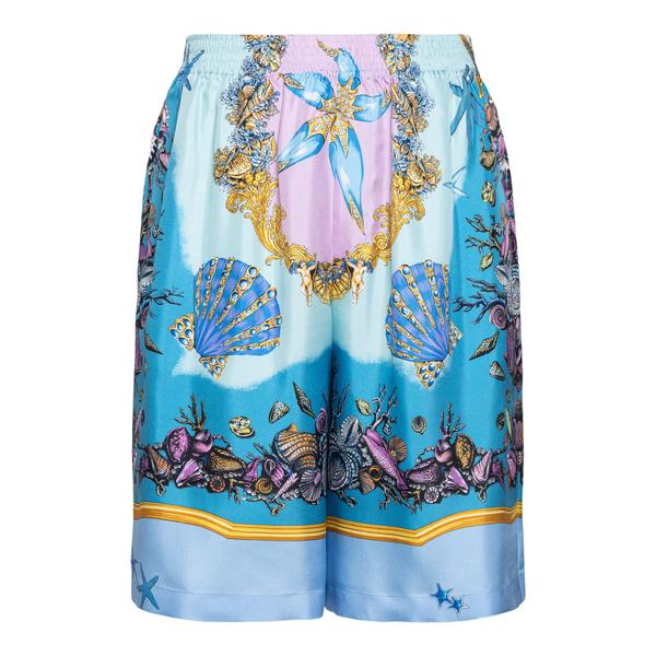 Pantaloncini azzurri con stampe                                                                                                                       Versace A86432 retro
