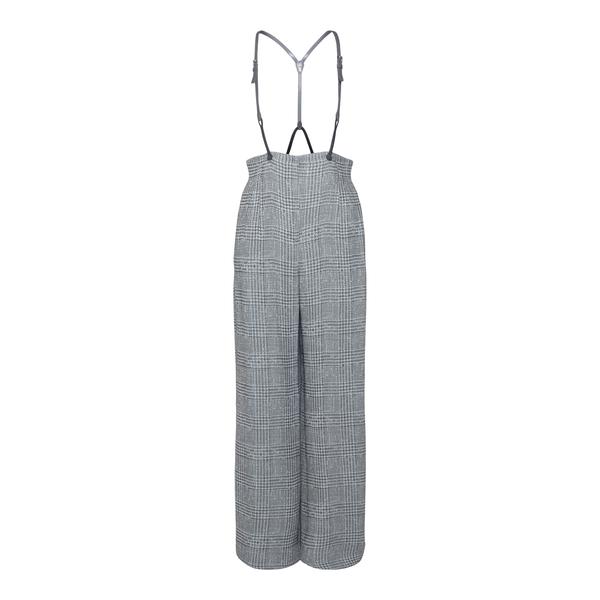 Pantaloni grigi a pied-de-poule con bretelle                                                                                                          Emporio Armani BNP27T retro
