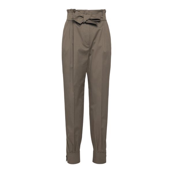 Straight khaki green trousers with bow                                                                                                                Max Mara EBURNEA back