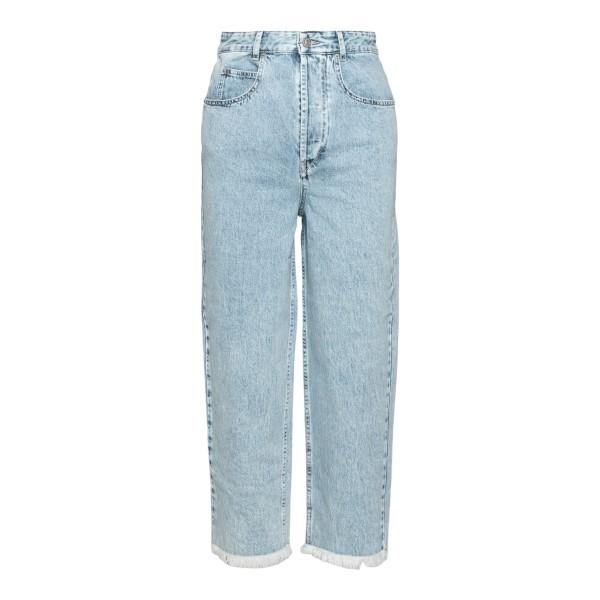 High-waisted light blue jeans with frayed hem                                                                                                         Isabel Marant PA1836 back