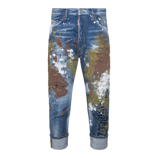 Jeans blu con macchie di vernice                                                                                                                      Dsquared2 S71LB0955 retro