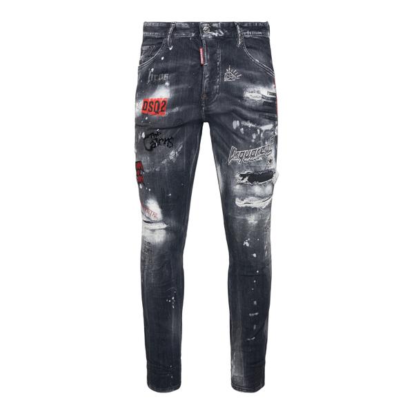 Jeans grigi in effetto vissuto con stampe                                                                                                             Dsquared2 S71LB0973 retro