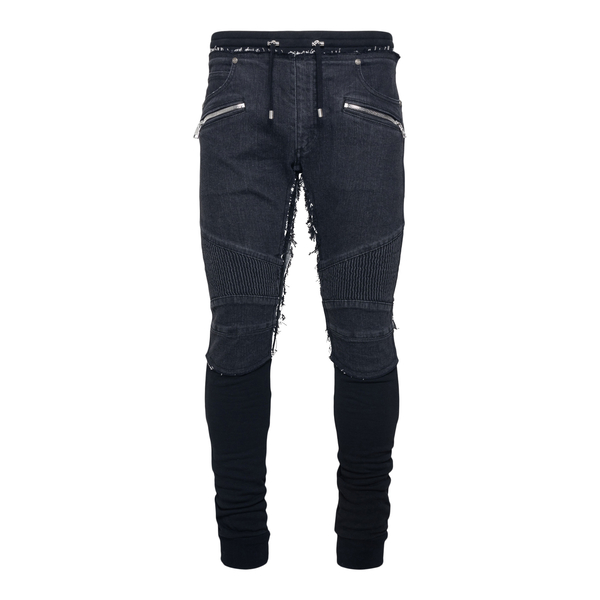 Black skinny jeans with layered effect                                                                                                                Balmain WH1MD005146D back