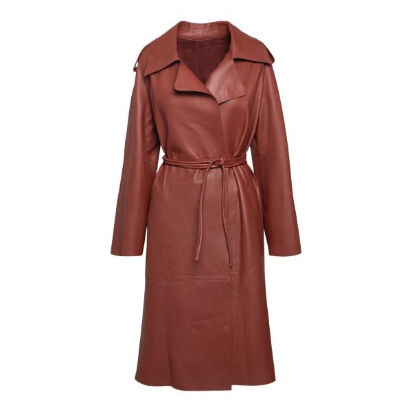 Long coat in dark red leather                                                                                                                         Sword 8683 back