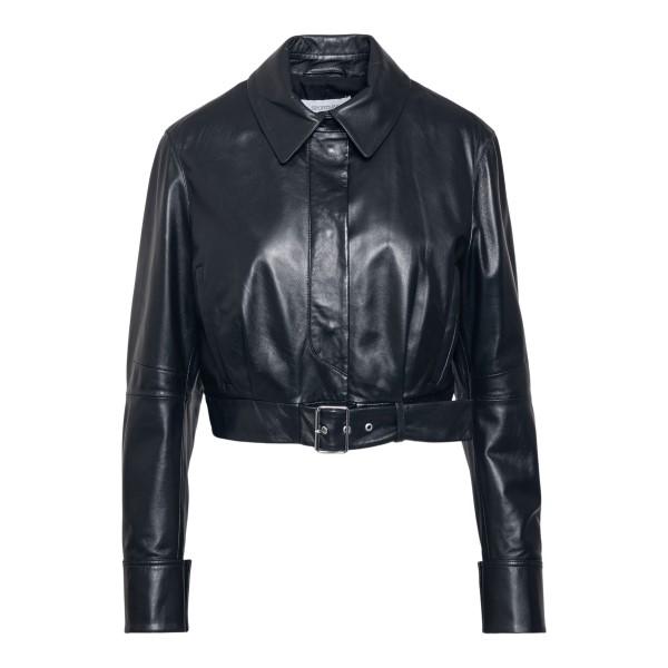 Crop style black nappa leather jacket                                                                                                                 Sportmax BARI front