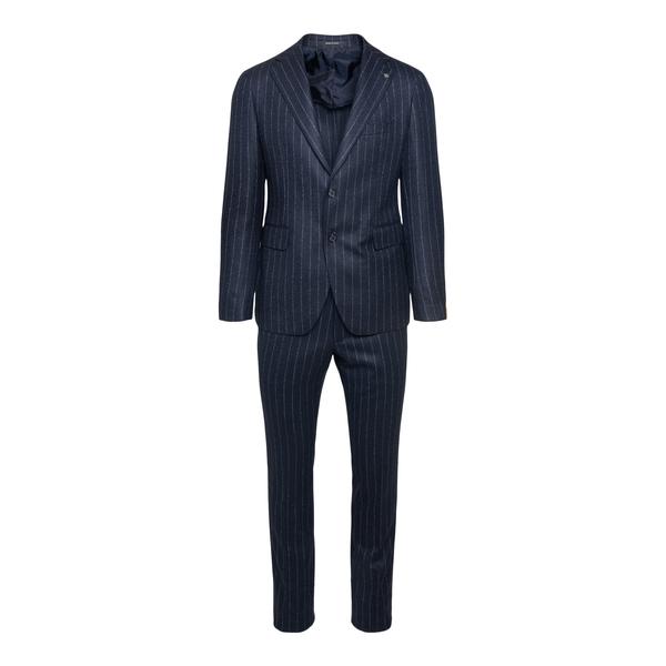 Elegant blue striped suit                                                                                                                             Tagliatore 2SVS22B01 back
