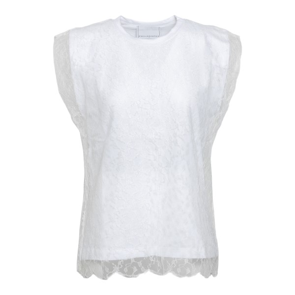 T-shirt bianca con strato in pizzo                                                                                                                    Philosophy 0707 fronte